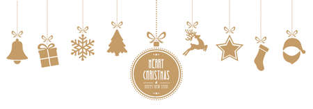 christmas elements hanging gold isolated background