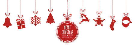 christmas elements hanging red isolated background Ilustração