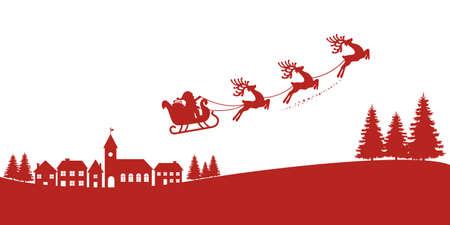 빨간색 실루엣 비행 산타 썰매 순록