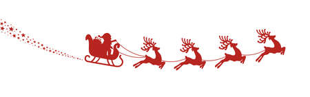 santa sleigh reindeer fly red silhouette Illustration