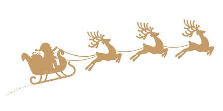 santa sleigh reindeer flying gold silhouette Vectores