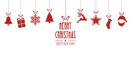 natale: elementi di Natale appesi sfondo rosso isolato Vettoriali