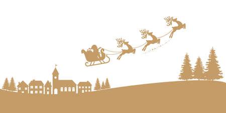 santa sleigh reindeer flying gold silhouette Illustration