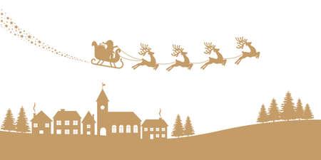 silhouettes: santa sleigh reindeer red silhouette