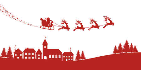 illustration isolated: santa sleigh reindeer red silhouette