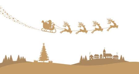 santa sleigh reindeer fly landscape gold silhouette