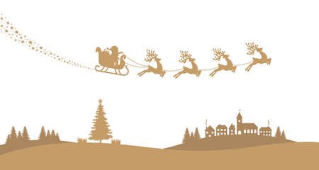santa sleigh reindeer fly landscape gold silhouette