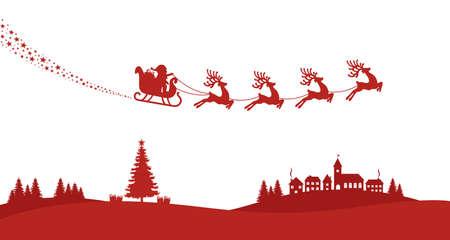 santa sleigh reindeer fly red silhouette Illustration