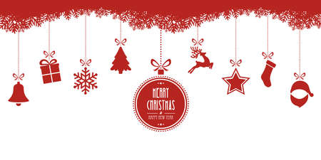 retro background: christmas elements hanging red isolated background Illustration
