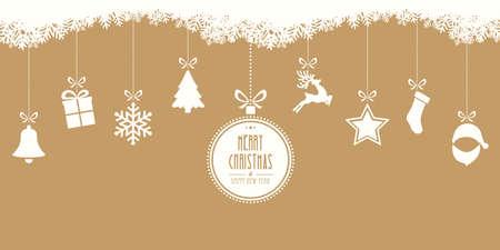 Vrolijke kerst opknoping gouden achtergrond Stockfoto - 46106443