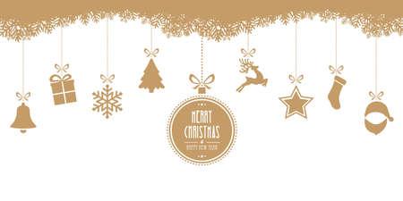 kerstmis opknoping geïsoleerd goud achtergrond