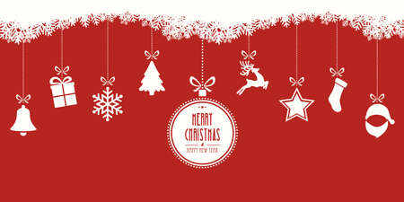 christmas elements hanging red background Stock Illustratie