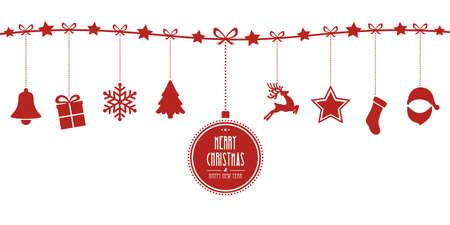 Kerst elementen opknoping lijn rode geïsoleerde achtergrond Stock Illustratie