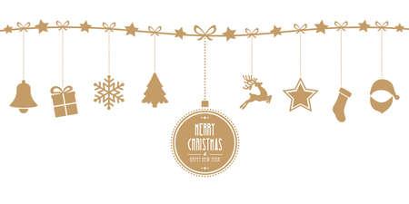 Boże Narodzenie elementy wiszące linia złota wyizolowanych w tle