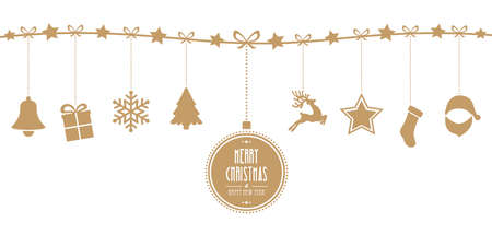 christmas elements hanging line gold isolated background Stock Vector - 46106449
