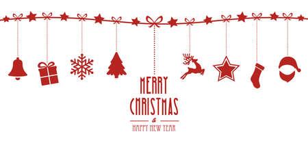 Kerst elementen opknoping on line rode geïsoleerde achtergrond