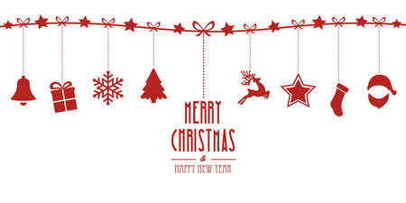 christmas elements hanging on line red isolated background
