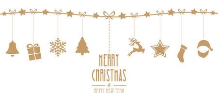 크리스마스 요소 라인 골드 배경에 고립 매달려