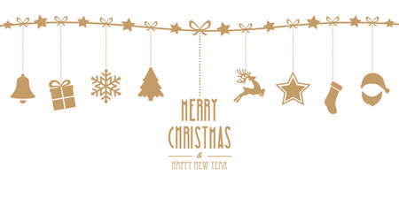 christmas elements hanging line gold isolated background