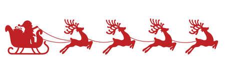 reno: trineo de santa reno silueta roja Vectores