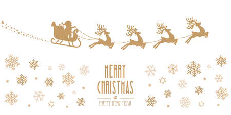 gold silhouette: santa sleigh reindeer flying gold silhouette merry christmas