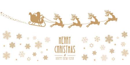 santa sleigh reindeer flying gold silhouette merry christmas