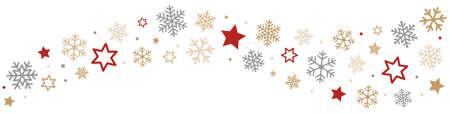 flocon de neige: Les flocons de neige et les étoiles Border