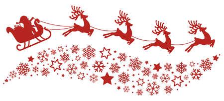 santa slee rendieren vliegende sneeuwvlokken rood silhouet Stock Illustratie