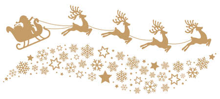 santa slee rendieren vliegende sneeuwvlokken goud silhouet Stock Illustratie
