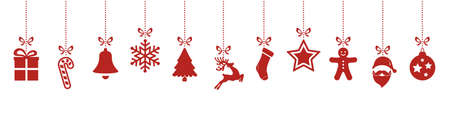 christmas ornaments hanging red isolated background Vectores