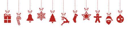 kerst ornamenten opknoping geïsoleerd rode achtergrond