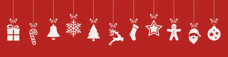 christmas ornaments hanging red background