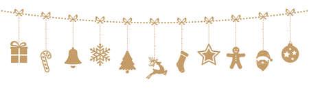 kerst ornamenten opknoping touw goud geïsoleerd achtergrond
