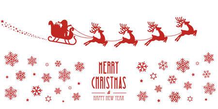 sleigh: santa sleigh reindeer flying red silhouette merry christmas