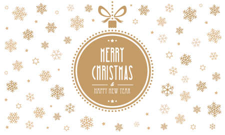 christmas cute: merry christmas gold ball snowflakes white background
