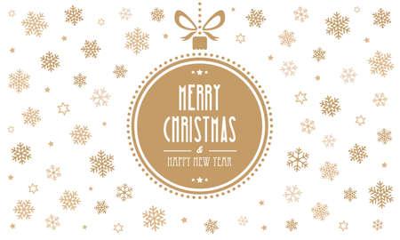 gold  ball: merry christmas gold ball snowflakes white background