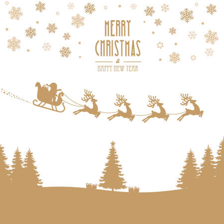Kerstman slee rendieren goud silhouet Stock Illustratie