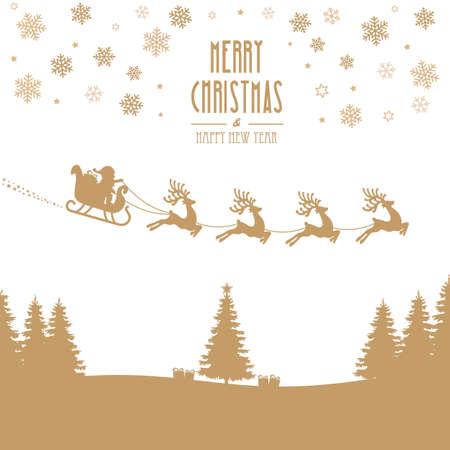 christmas tree: santa claus sleigh reindeer gold silhouette