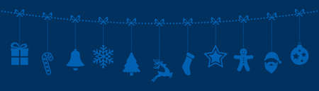 christmas gift: christmas ornaments hanging rope blue background Illustration