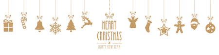 christmas ornaments hanging gold isolated background