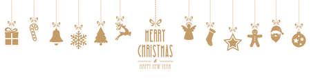 kerst ornamenten opknoping geïsoleerd goud achtergrond Stock Illustratie