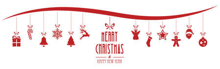 hangings: christmas ornaments hanging red isolated background Illustration