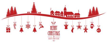 winterlandschap kerst versiering opknoping rode geïsoleerde achtergrond Stock Illustratie