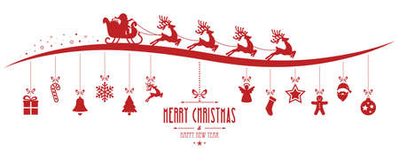 santa sleigh: santa claus sleigh christmas elements hanging gred isolated background