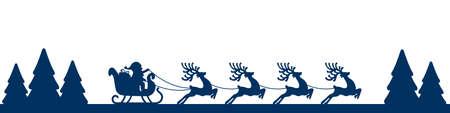 papa noel en trineo: trineo de santa renos silueta azul paisaje