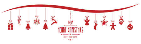 hinge: christmas ornaments hanging red isolated background Illustration