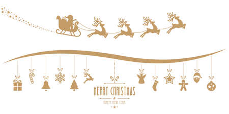 reindeer silhouette: santa claus sleigh christmas elements hanging gold isolated background