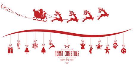 trineo: de santa claus en trineo elementos de la Navidad que cuelgan fondo rojo aislado