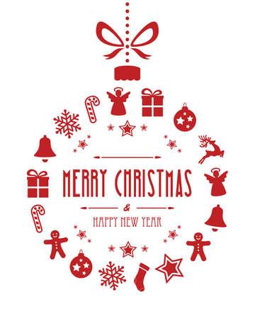 pelota caricatura: fondo navidad ornamentos de la bola roja aislada Vectores