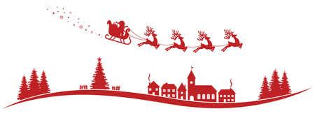 Babbo Natale slitta trainata da renne volare paesaggio rosso Vettoriali